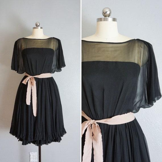 1950s Claudia black silk chiffon dress   vintage … - image 1