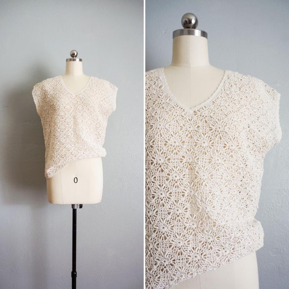 1960s Annie crochet top | vintage 60s cream croche