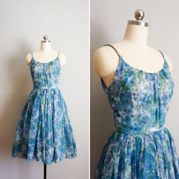 1950s Dreaming in Watercolors blue dress | vintage