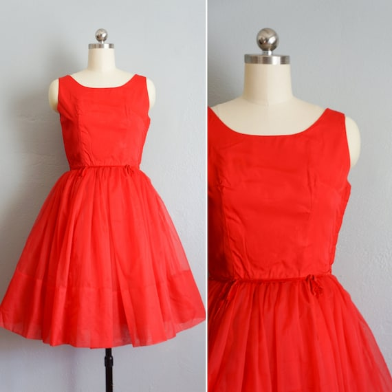 1950s Holiday Cheer red fit and flare dress | vint