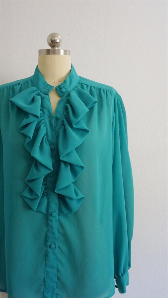 1980s Jo ruffle blouse | vintage blue top | vinta… - image 2