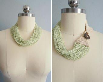 vintage Patty Mint multi strand necklace | multi strand beaded necklace | vintage statement necklace