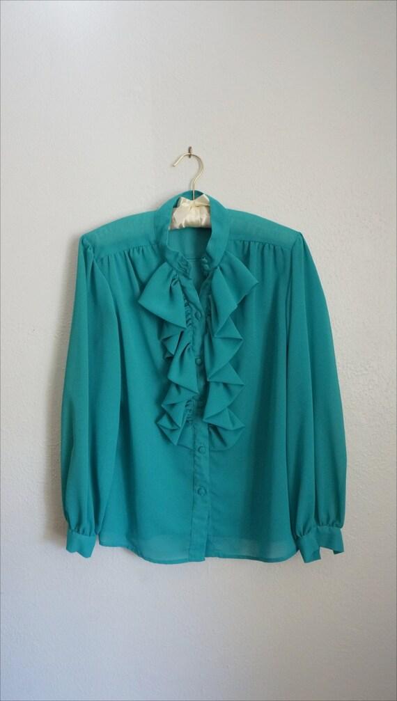 1980s Jo ruffle blouse | vintage blue top | vinta… - image 5