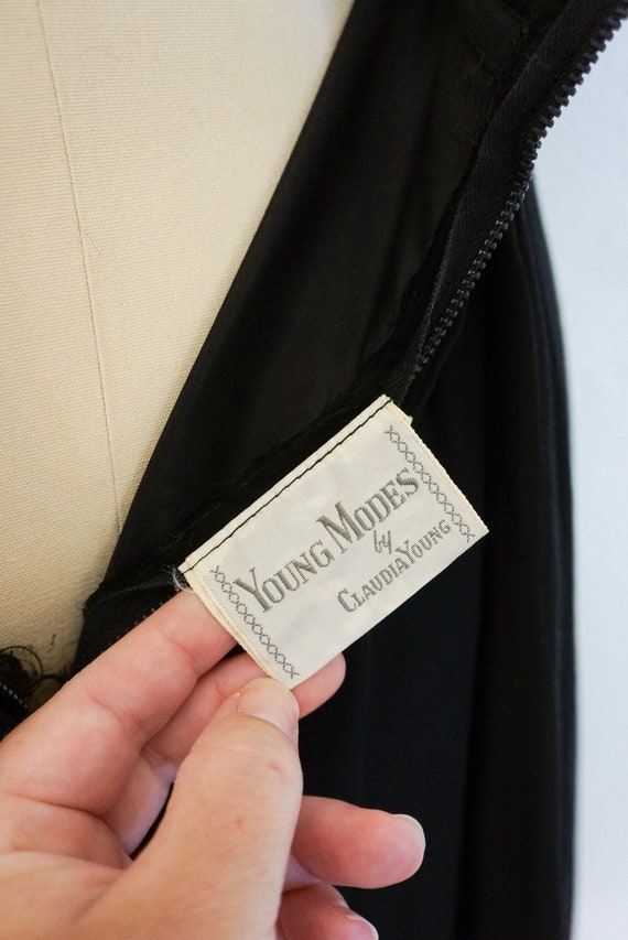 1950s Claudia black silk chiffon dress   vintage … - image 7