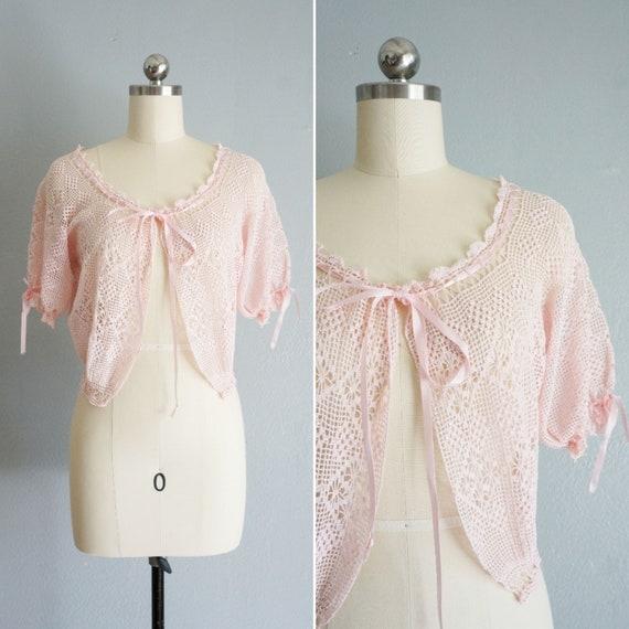 1950s Beautiful Dream pink crochet bed jacket | vi
