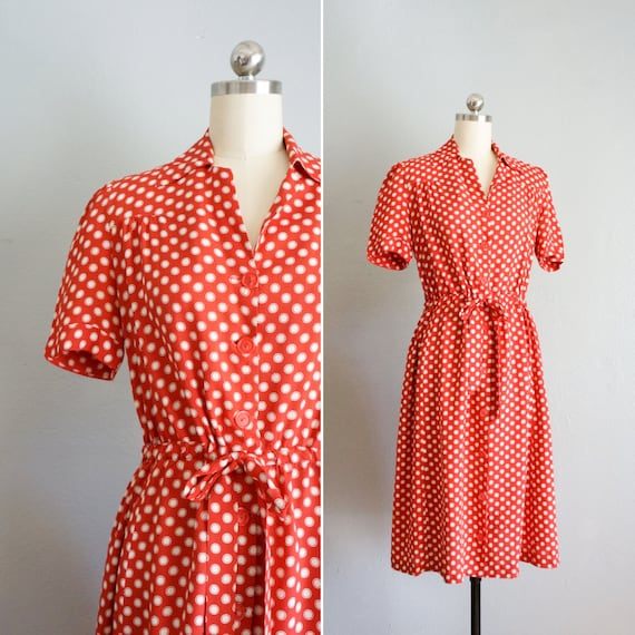 1940s Folk Song rayon dress | vintage 40s polka do