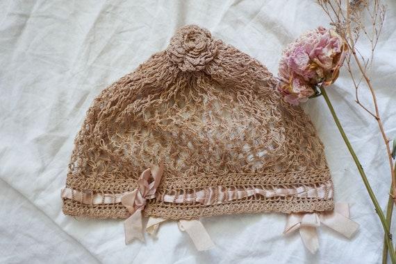 1920s Dusty Rose crochet hat/bonnet | vintage 20s