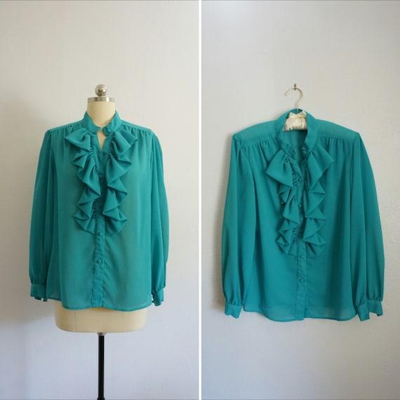 1980s Jo ruffle blouse | vintage blue top | vinta… - image 1