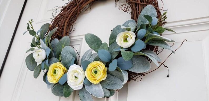 white wreath 14 wreath summer wreath lambs ear eucalyptus Spring wreath floral wreath home decor yellow wreath grapevine wreath