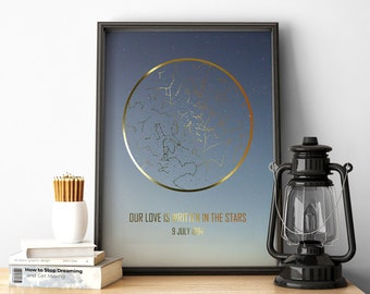 Gold Star Map Poster / DIGITAL DOWNLOAD / Custom Map of the Stars Print / Personalized Night Sky Print / The Stars Above Us Custom Poster