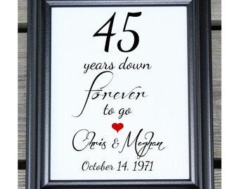 45 Years of Marriage   45 Years Down   45 Year Anniversary   45th Wedding Anniversary   45th Anniversary Gift  Her Him   Husband Wife Gift