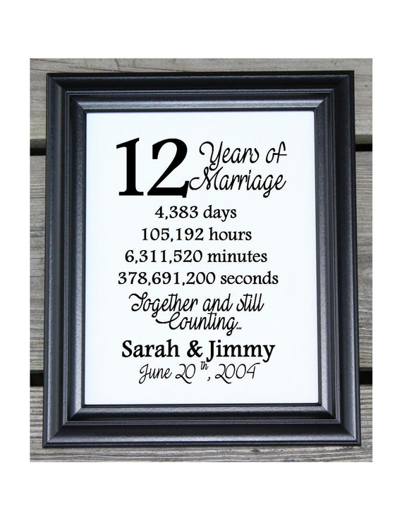12th Wedding Anniversary Cotton Print 12th Wedding Gift 12 Years Together 12 Years Of Marriage 12th Anniversary Gift For Wife Her
