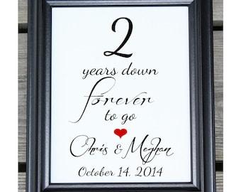 2 Years Down | 2 Years of Marriage | 2 Year Anniversary | 2nd Wedding Anniversary | Two Year Anniversary Gift  Her Him | Gift Husband Wife