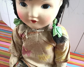 Old Chinese style doll,1940-1950, cloth feet and hands, composite head, Chinese outfit, antique doll, Chinese, European doll, vintage doll