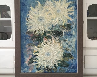 Reserved for S Vintage oil painting with chrysanthemums, colorful oil painting with flowers, modern framed oil painting, vintage, signed
