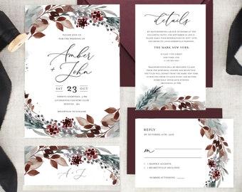 winter wedding invitation etsy
