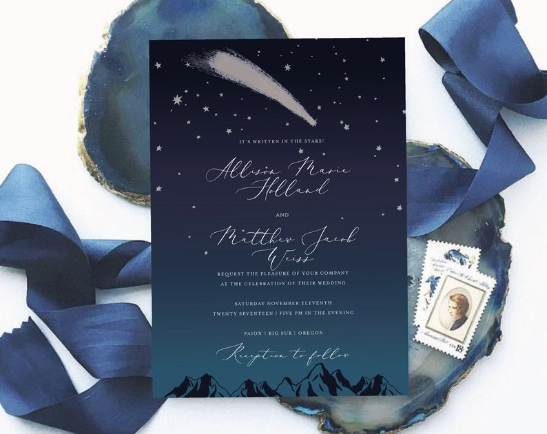 image relating to Starry Night Printable named Starry night time printable invitation template Constellation marriage invite Military blue wedding ceremony invitation card Celestial marriage decor Electronic