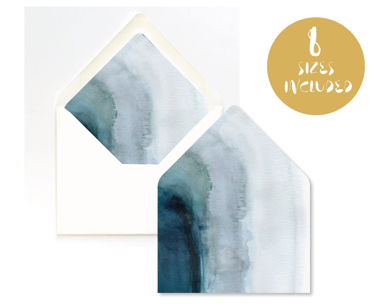 Blue Agate Envelope Liner Template Instant Download Ombre Etsy