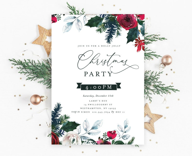 photo regarding Printable Holiday Invitation called Printable Family vacation Get together Invitation - Small business Holiday vacation Celebration - Quick Obtain Editable Printable Xmas Celebration Invitation pdf Template