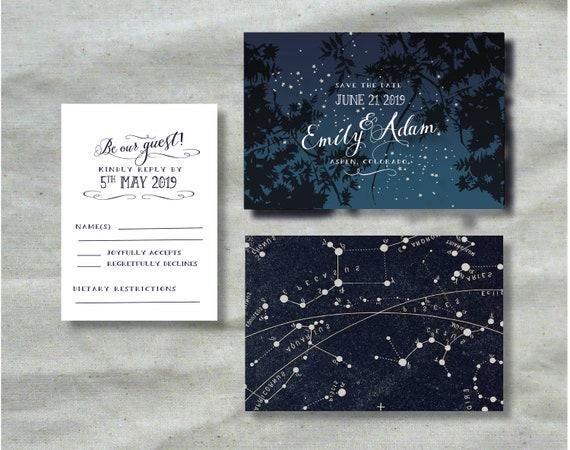 celestial invitation printable wedding invitation set starry etsy