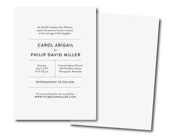 printable wedding invitation, Simple Wedding Invitation, Black and White Affordable Invitation, modern Minimalist Printable DIY Invite