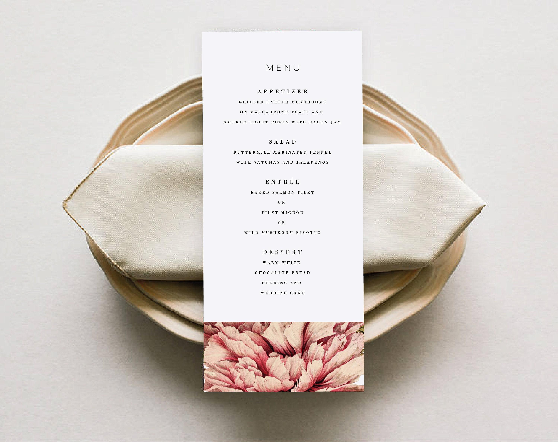 Printable Wedding Menu Template DIY Simple And