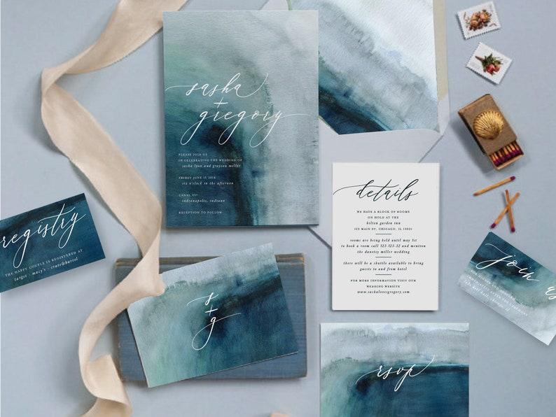 Hochzeitskarten Watercolor maritim