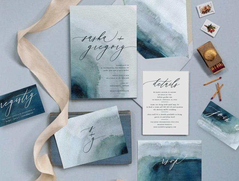 Watercolor Hochzeitseinladung