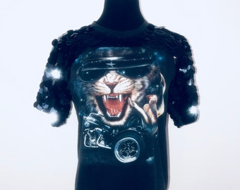 04345502 Black Gucci style cat biker rocker grunge animal One off Ethical Upcycled  Embellished Sequin Tshirt Top would fit 6 8 10