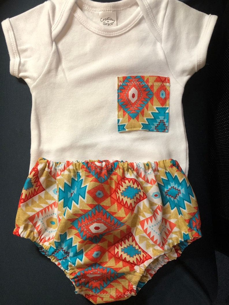 Southwestern diaper cover and onesie set  in bright colors ships free!!! two piece set size 12-18 M