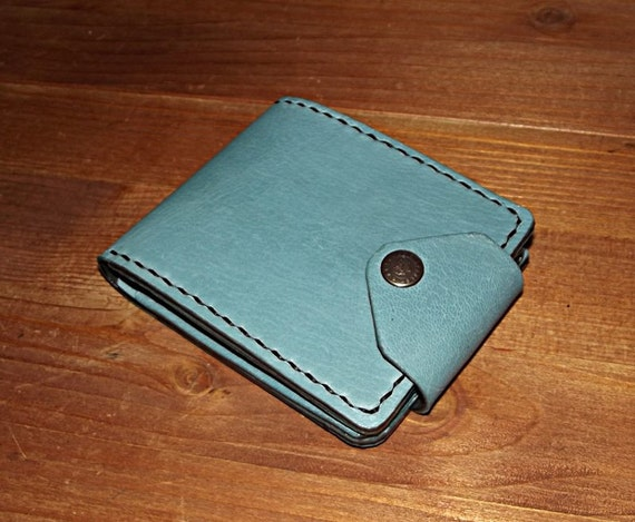 Blue leather bifold wallet Purse compact Womens leather  1507d518c