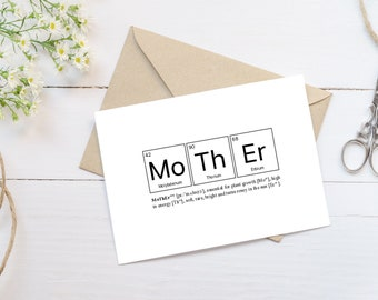 Funny Mother Elements Card, Periodic Table, Mothers Day Card, Funny Mothers Day, Card For Mom, Funny Mom Card