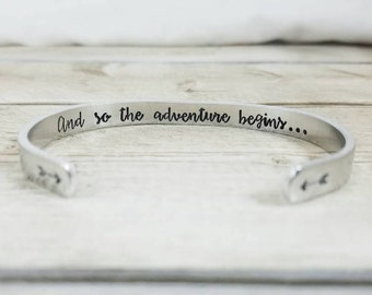 And so the adventure begins - Personalized graduation gift for her - Class of 2017 gift - Best graduation gift - Secret message bracelet