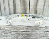 Keep Fucking Going Bracelet, Friend Encouragement Gift, Adult Hand Stamped Cuff, Strength Jewelry, Secret Message Cuff, Inspirational Gift