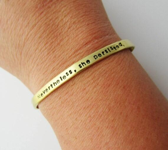 Nevertheless She Persisted Bracelet Skinny Adjustable Cuff Etsy