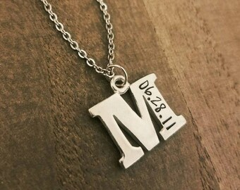 Personalized Letter Initial Wedding Anniversary Date Necklace