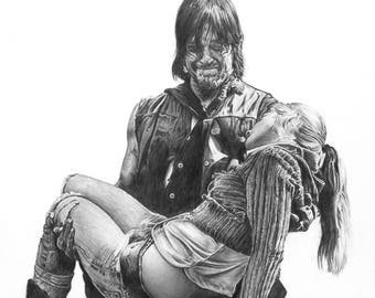 """8.5x11"""" OR 11x17"""" Print of Norman Reedus and Emily Kinney as Daryl Dixon and Beth Greene from The Walking Dead"""