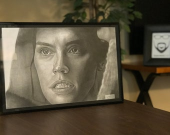 """11x17"""" Framed Original Graphite Drawing of Daisy Ridley as Rey from Star Wars"""