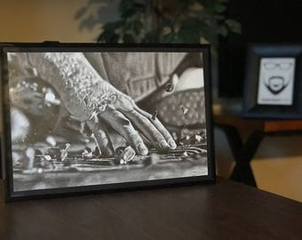 """11x17"""" Framed Original Graphite Drawing of """"Forceful Hand"""" of Daisy Ridley as Rey from Star Wars"""