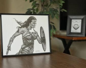 "11x14"" Framed Original Graphite Drawing of Gal Gadot as Wonder Woman"