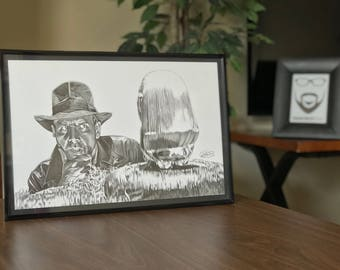 """11x17"""" Framed Original Graphite Drawing of Harrison Ford as Indiana Jones from Raiders of the Lost Ark"""