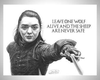 wolf Game of thrones quote wall art print Arya Stark picture poster