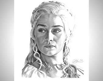 Game of Thrones QUEEN Daenerys Targaryen EMILIA SKETCH Card PRINT 1 of 10 ART