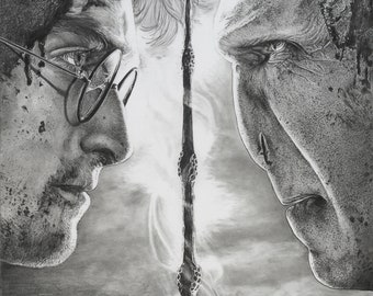 """8.5x11"""" OR 11x17"""" Print of Harry Potter and Voldemort"""