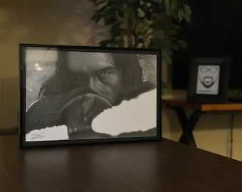 """11x17"""" Framed Original Graphite Drawing of Adam Driver as Ben Solo """"Kylo Ren"""" from Star Wars"""