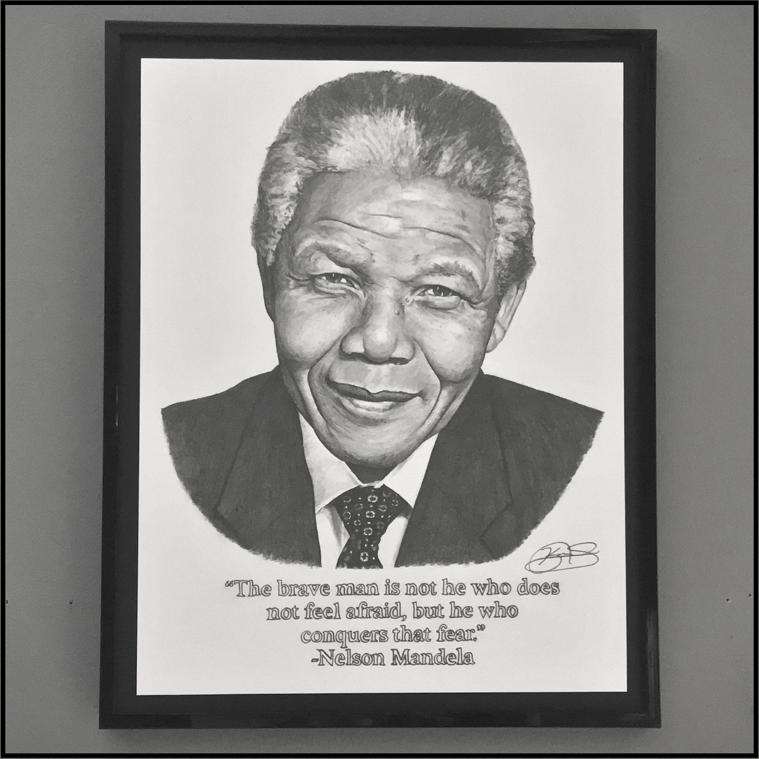 11x14 Framed Original Graphite Drawing Nelson Mandela Etsy