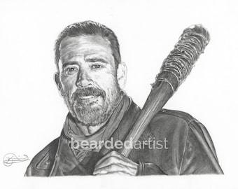 "8.5x11"" OR 11x17"" Print of Jeffrey Dean Morgan as Negan from The Walking Dead"