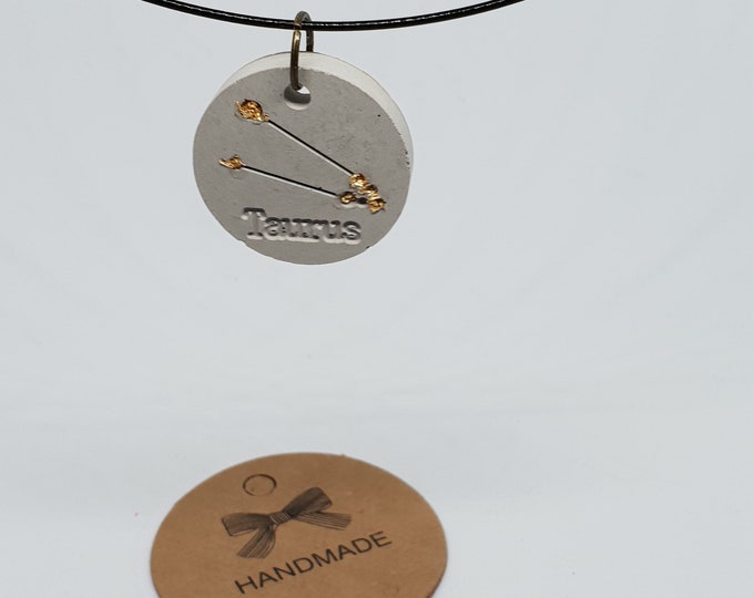 Jewelry neck-ripe one-piece concrete jewelry grey necklace pendant jewelry concrete zodiac sign 24 carat gold leaf bull Taurus