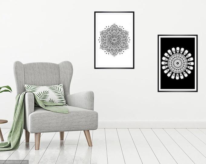 Print wall art mandala photography large printable poster digital download picture canvas 2 set download digital