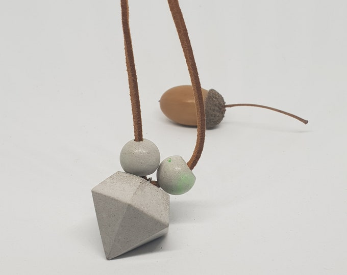 Necklace concrete jewelry gift color grey woman concrete jewelry velour leather band diamond shape green shimmer